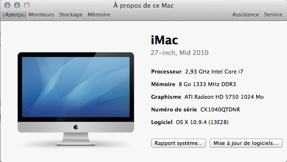 FAQ : écran Á propos de ce Mac