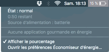 Barre menu MacBook