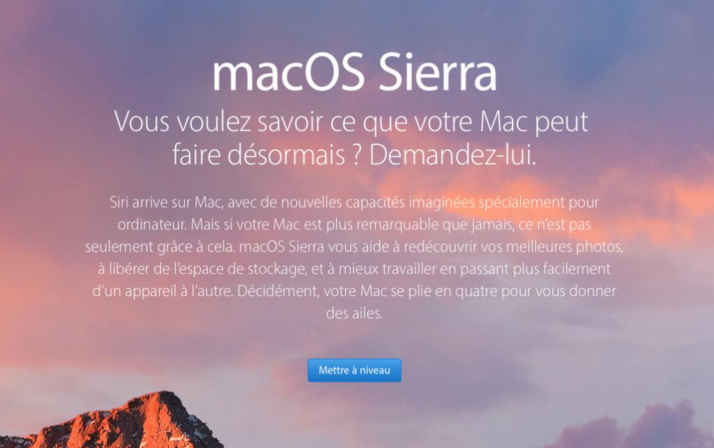 Mise à jour de macOS Sierra