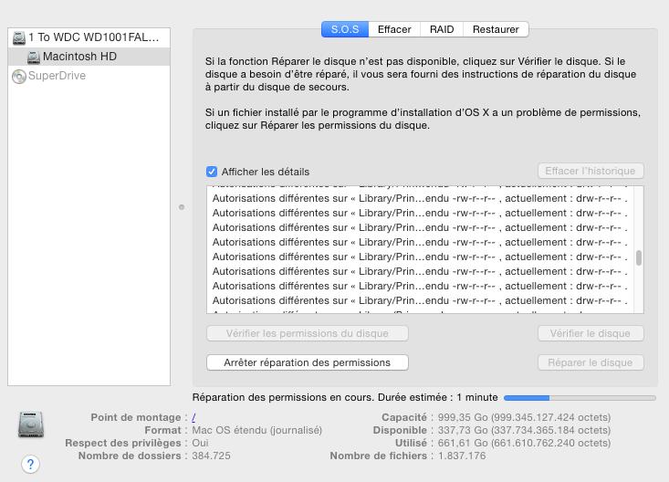 Réparation des permissions macOS