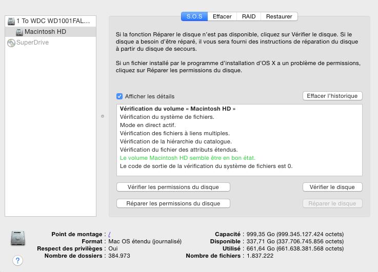 Vérification disque dur Mac
