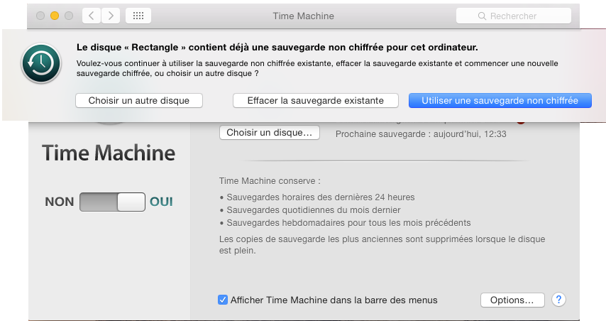 Comment chiffrer un back-up aec time machine