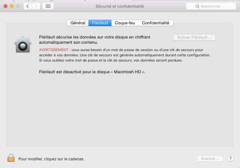 Lancer FileVault à partir du menu préférences