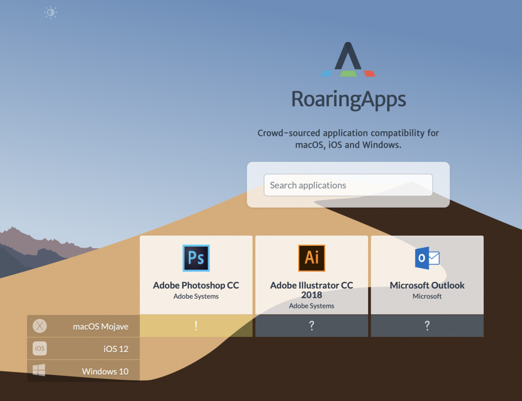 Roaring application Mojave compatibilité