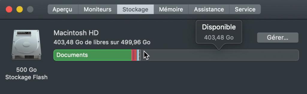 Capacite stockage 256 Go Mac mini 2018