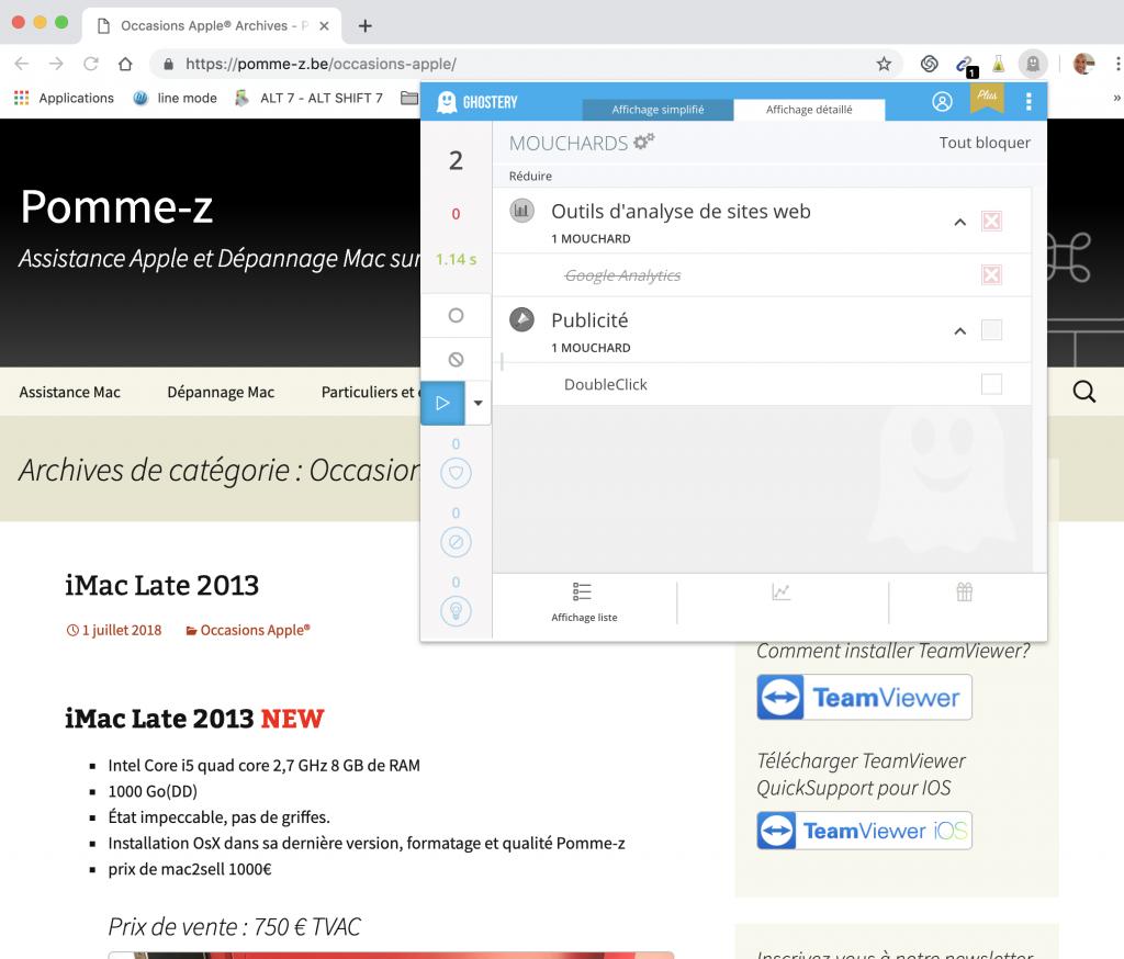 Installation de l'extension Ghostery sur Chrome