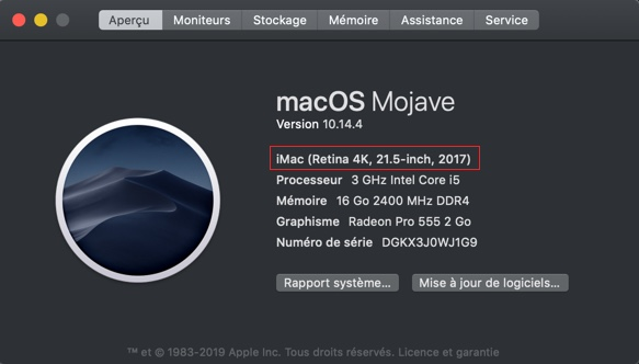 Connaître la date de production d'un ordinateur Apple via le Menu Pomme puis à propos de ce Mac